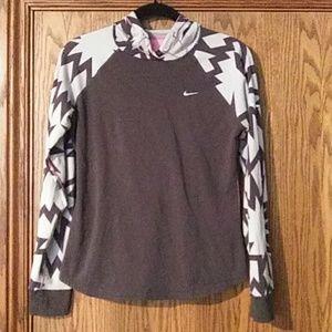 Nike Dri-Fit Grey/Pink Pullover Hoodie